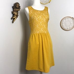 Anthro Maeve yellow lace dress w pockets